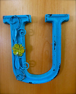 "BLUE CAST IRON WALL LETTER ""U"" 6.5"" TALL rustic vintage decor sign child nursery"