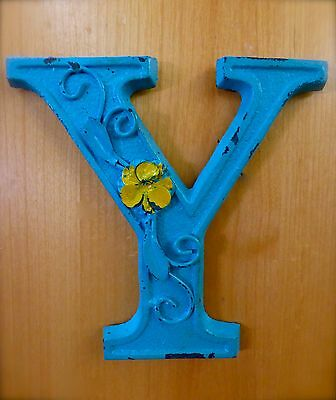 "BLUE CAST IRON WALL LETTER ""Y"" 6.5"" TALL rustic vintage decor sign child nursery"