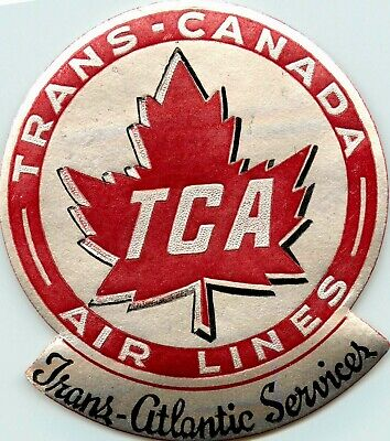 Trans Atlantic Services ~TRANS CANADA AIRLINE~ Great Old Metallic Luggage Label