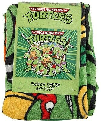 Teenage Mutant Ninja Turtles TMNT Weapons Nickelodeon Plush Fleece Throw Blanket