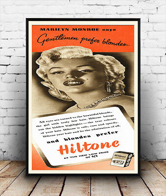Marylin Monroe Hilltone, Vintage advertising poster reproduction.