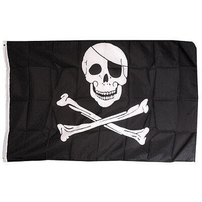 Pirate FLAG Skull and Crossbones Jolly Rodger Large 5x3' Size ED