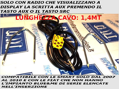 Fiat 500 Grande Punto Alfa 159 car stereo aux input adaptor 3.5mm iPod iPhone