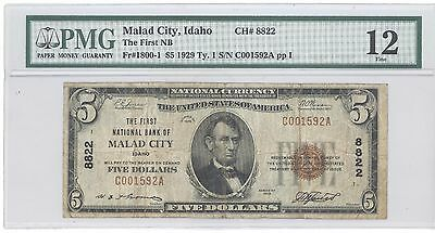 1929 $5 Type 1 The First National Bank of Malad City IDAHO PMG 12 Fine F# 1800-1