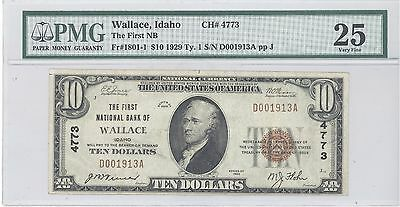 1929 $10 Type 1 The First National Bank of Wallace ID PMG 25 Very Fine F# 1801-1