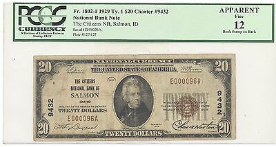 1929 $20 Type 1 The Citizens National Bank of Salmon, ID PCGS 12 Fine F#: 1802-1