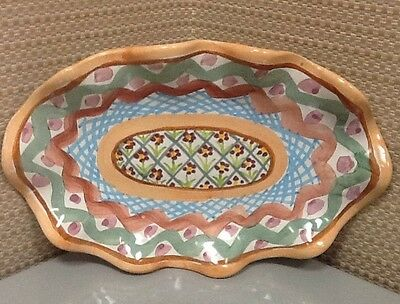 Mackenzie Childs Healther Small Fluted Oval Platter Retired Pattern