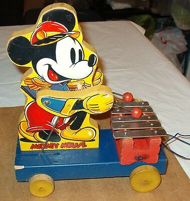 Early Vintage 1939 W.d.p. Fisher Price Mickey Mouse Xylophone Pull Toy