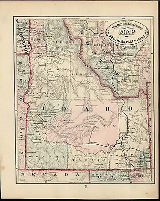 Idaho early statehood map 1882 antique uncommon lithographed old hand color map