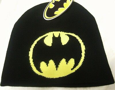 sale retailer 2f38d 54eb6 NWT Mens Black DC Comics Batman Bat Symbol Logo Dark Knight Superhero Beanie  Hat