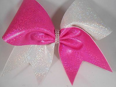 Cheer Bow Hot pink - Fuschia / White - Silver Holographic Mystique BlingItOnChee