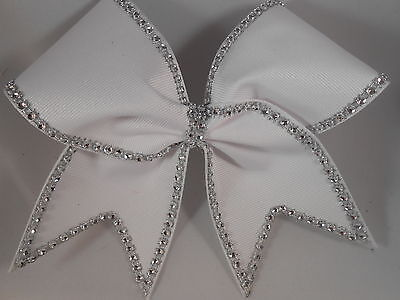 Cheer Bow White Grosgrain with silver BLING DOUBLE layer by BlingItOnCheerBows