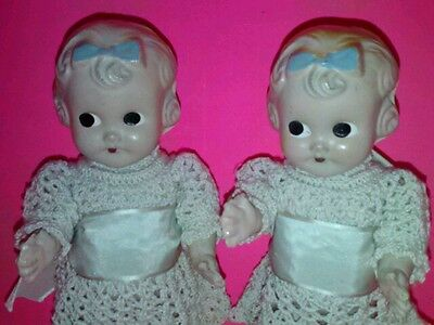 """2  7 1/2 """" TWIN PAPER MACHE DOLLS WITH ORIGINAL CROCHETED DRESSES 1920'S-1930's"""