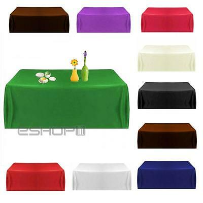 Satin Tablecloth Table Cover for Wedding Party Restaurant Banquet Decor 145cm