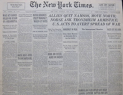 5-1940 WWII May 4 ALLIES QUIT NAMSOS NORSE ASK TRONDHEIM ARMISTICE US ACTS