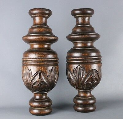 Pair of  Antique French salvaged wood carved Column Baluster