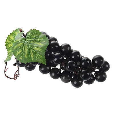 Soft Plastic Artifitial Burgundy Bunch Grapes Fruit Home Office Decoration ED