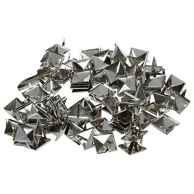 100pcs 2 Prongs Pyramid Studs 12mm Silver--Great for Any Leathercraft Project ED