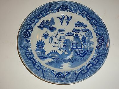 """Vintage Occupied Japan Blue Willow Dinner Plate, 9-3/8"""""""