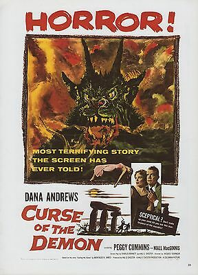 "1977 Vintage ""CURSE OF THE DEMON"" HORROR & GGA MINI POSTER Art Plate Lithograph"