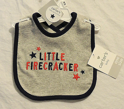 NEW Baby Carter's Little Firecracker Bib, 4th of July, Fourth Patriotic America