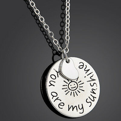 You are my sunshine Love Letters Pendant Charm Necklace Best Friends Lover Gift