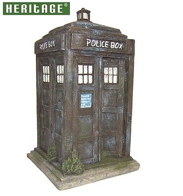HERITAGE BM151s AQUARIUM FISH TANK BLUE POLICE BOX ORNAMENT DECORATION 17.5CM