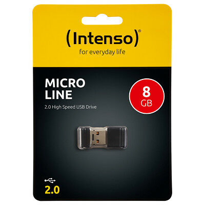 kQ Intenso 8GB USB Stick Micro Line mini USB flash drive 8 GB Speicher schwarz