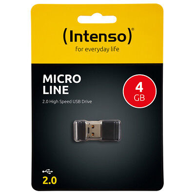 kQ Intenso 4GB USB Stick Micro Line mini USB flash drive 4 GB Speicher schwarz