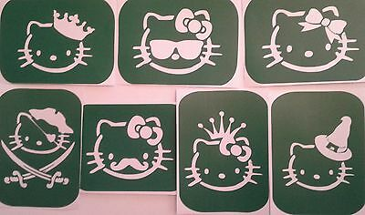 Pack of 7 Hello Kitty -1  Vinyl STENCILS FOR GLASS ETCHING AND GLITTER GLASS