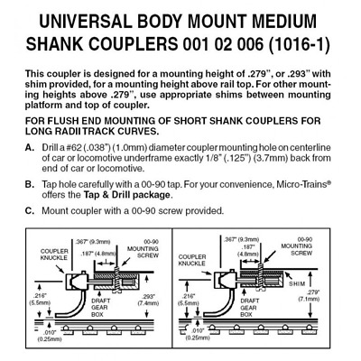 Micro-Trains 102006 – Universal Body Mount Medium Shank Couplers – N Scale