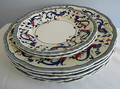 Pattern Umbria By Booths #3354 England 7 Lot Plates Blue Scroll Embossed Scallop