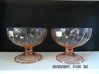 NWT Luminarc Pink Dessert Dishes/Parfait Glasses Set 2 glass/dish