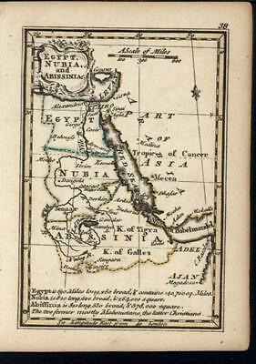 Egypt Nubia Abyssinia Africa 1758 by Bowen charming miniature antique map