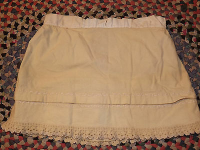 "Amazing Vtg 1800s Girls WOOL PETTICOAT Button Hole 26"" Waist Hand Sewn Hand Lace"