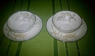 Set of 2 Franciscan Cup & Saucer Winter Bouquet Pattern