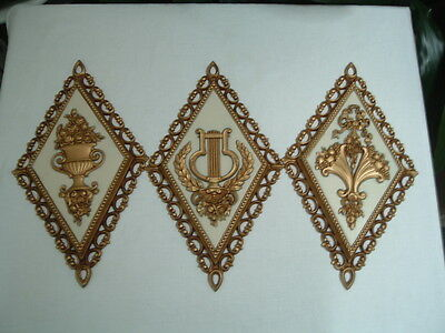 Vintage Homco Grecian style diamond shape wall plaques set of three