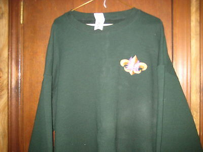 Green Boy Scout Sweatshirt, size xxxl, Pine Trees & Bear over Fluer de lis   A52