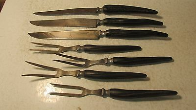 7 antique Cattaragus Vanadium Carving Knives & Forks Faux Stag Handles