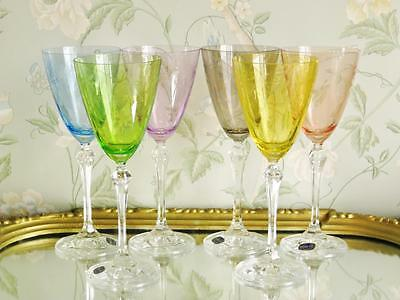 Delightful Bohemia Rainbow wine glasses Set of 6.  NEW