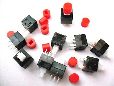 10 Pieces Push Button Micro Switch Self Latching + Button Cap 8.5x8.5mm 6-Pin