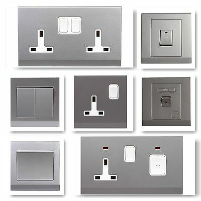 Simplicity Screwless Grey Silver Plastic Light Switches Plug Sockets Cooker Fuse