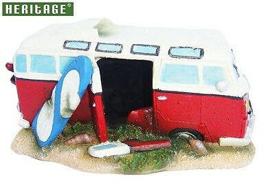 Heritage Jq036C Aquarium Fish Tank Vw Camper Van Ornament Bubbler Decoration Red