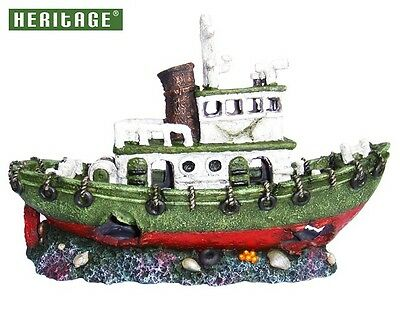 Heritage Ws026C Aquarium Fish Tank Large Green Tug Boat Wreck Ornament 30Cm