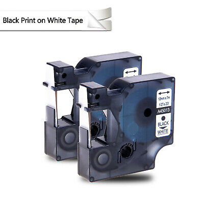 2PK Black on White Label Tape Compatible For DYMO D1 45013 1/2 X 23' S0720530