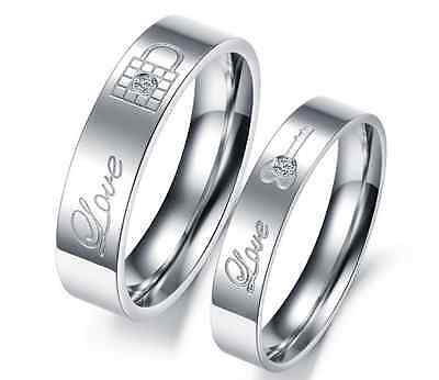 Stainless Steel 316L CZ Love Lock & Key Promise Ring Couple Wedding Band Set