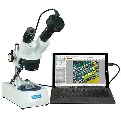 OMAX 10X-30X Cordless Dual LED Lights Binocular Stereo Microscope+3MP Camera