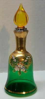 Vintage Green Glass Decanter Bell Shape with Painted Flowers and Yellow Stopper
