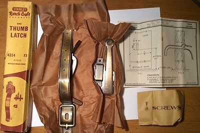 NOS VTG 50s STANLEY RANCHCRAFT Steel - Antique Brass Finish Thumblatch 4314 F3