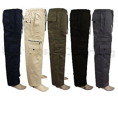 Mens Elasticated Summer Trousers Cargo Combat Lightweight Pant Cotton AllSeasons